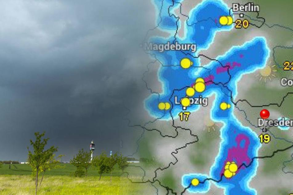 Gewitter mit Starkregen und Hagel: Unwetter ziehen über Sachsen
