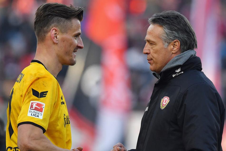 Gutes Verhältnis: Stefan Kutschke mit Dynamo-Trainer Uwe Neuhaus.