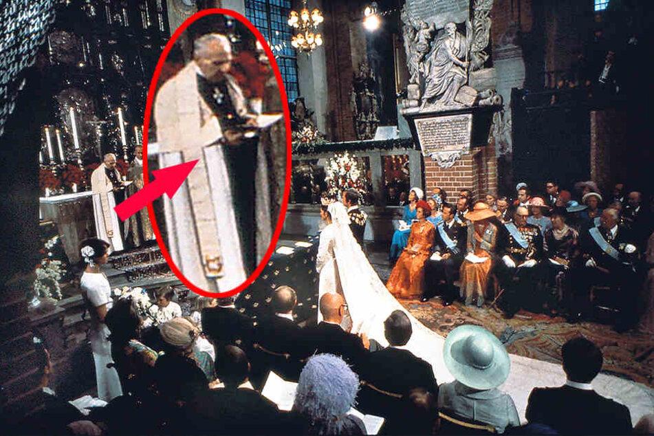 Gottes Segen aus Leipzig: Bei Silvias Königs-Hochzeit am 19. Juni 1976 in Stockholm stand auch Onkel Ernst Sommerlath (Kreis) als Hilfspastor am Traualtar.