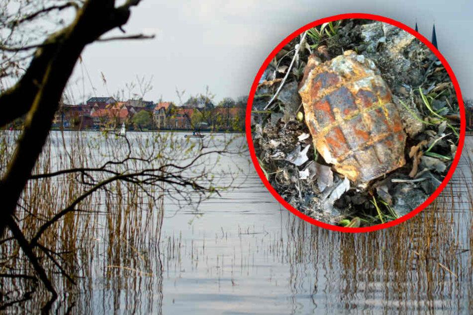 Am Ufer des Ruppiner Sees bei Wustrau nahe Neuruppin stieß der Mann auf die Granate (Bildmontage).