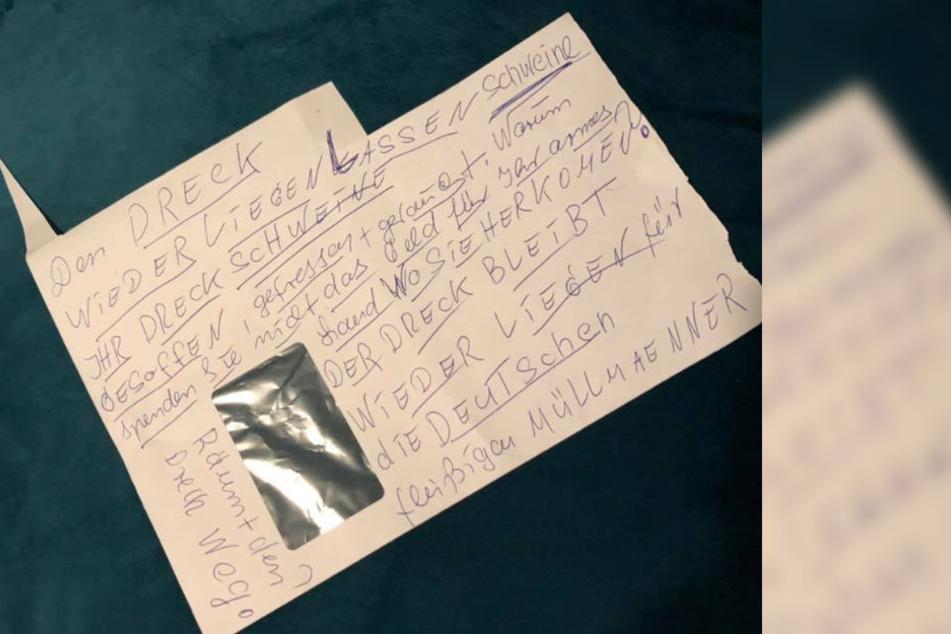 Dieses anonyme Schreiben fand der Betreiber am Neujahrstag an der Tür des Restaurants.