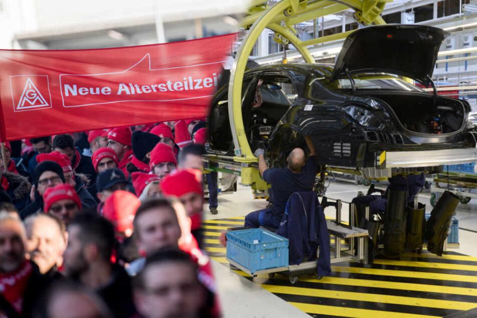 Bereits am Montag gingen Tausende im Südwesten auf die Straßen (links). Rund zehntausend Beschäftigte werden am Dienstag zum Warnstreik im Sindelfinger Daimler-Werk (rechts) erwartet. (Fotomontage)