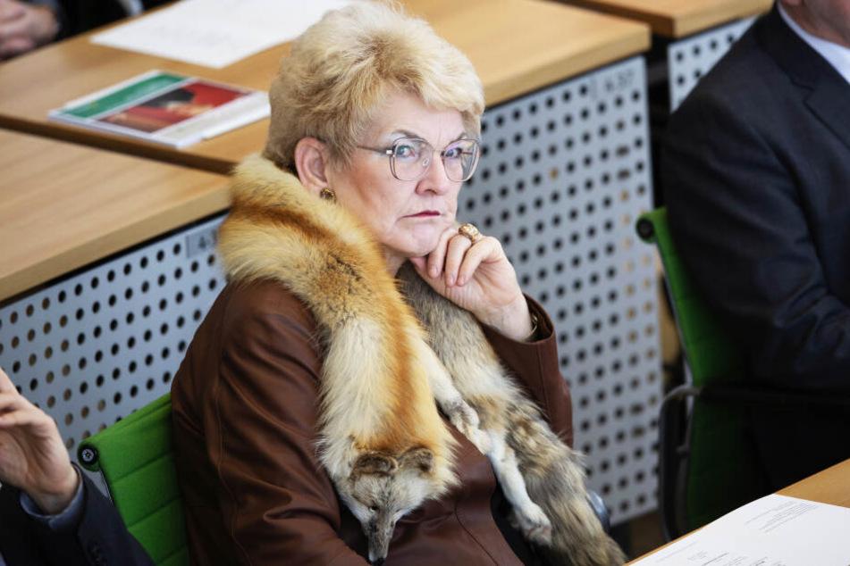 Gudrun Petzold (68, AfD) am Montagmorgen im Sächsischen Landtag.