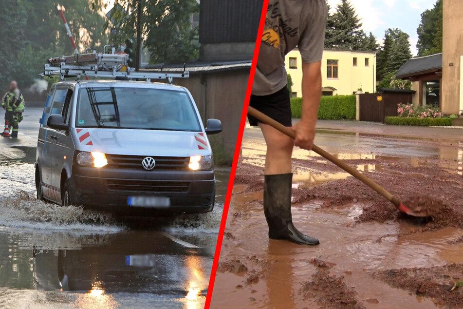 Heftige Unwetter in Westsachsen: Nach Gewitter und Starkregen sind Straßen und Keller überflutet