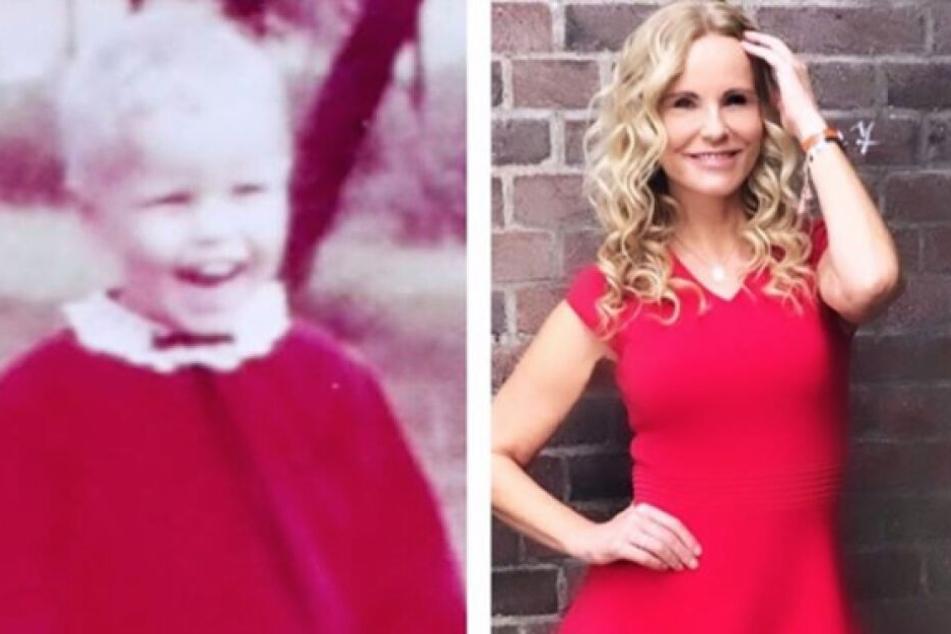 Links: Katja Burkard als Kind, rechts als erwachsene Frau.