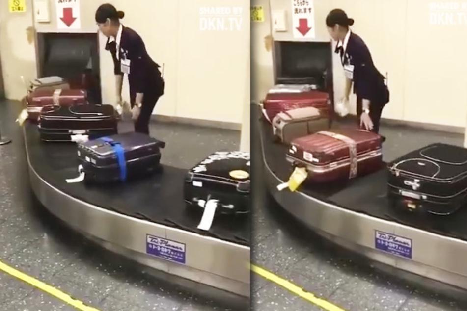 Die Mitarbeiterin reinigt die Koffer.