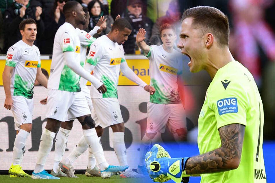 Unions Rafal Gikiewicz jubelt nach dem 1:0 durch Sebastian Andersson in Mainz. Klappt gegen Borussia Mönchengladbach der nächste Sieg? (Bildmontage)