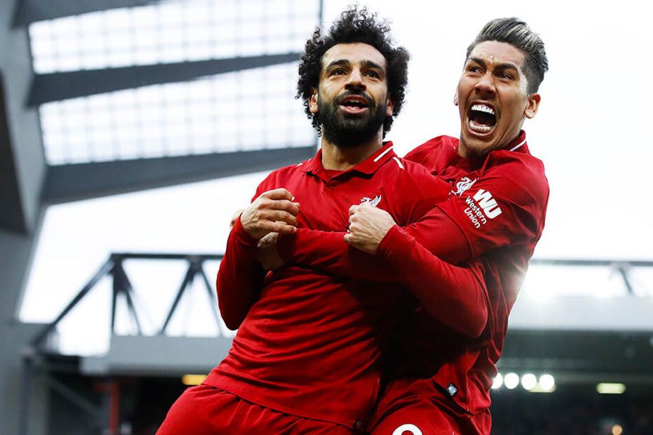 Können Liverpools Sturmstars Mohamed Salah (l.) und Roberto Firmino am Ende der Saison die Meisterschaft feiern?