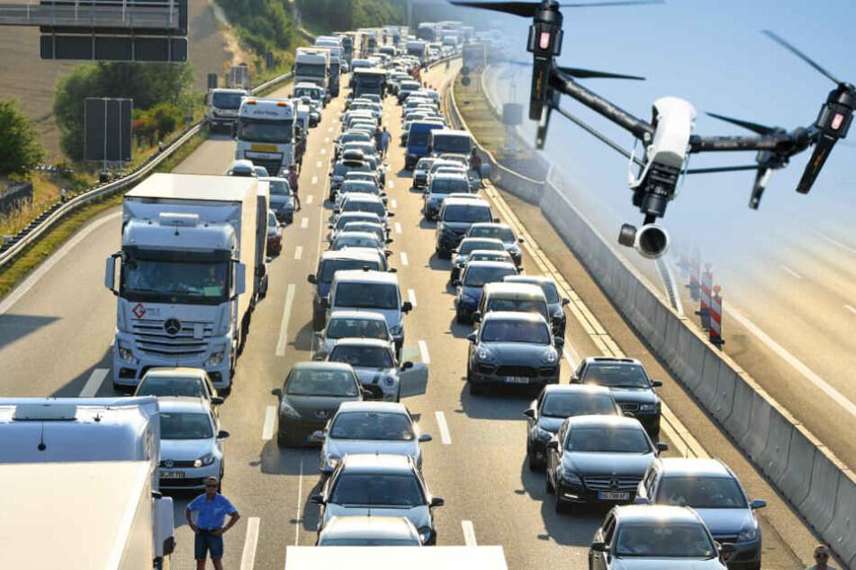 Auf der A6 landete eine Drohne. (Fotomontage)