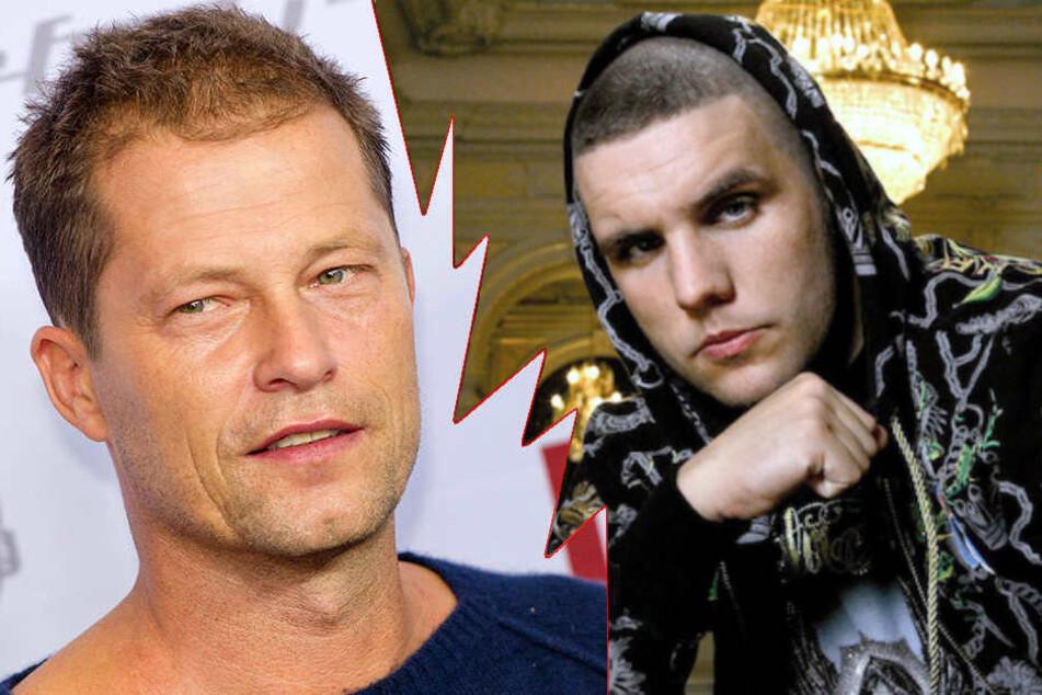 Rapper Fler (36, re.) lässt kein gutes Haar an Til Schweiger (54). (Bildmontage)