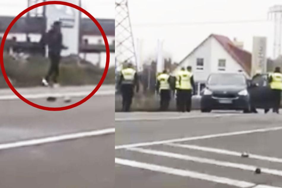 Ein 24-jähriger Mann hat auf der B181 in Dölzig bei Leipzig auf fahrende Autos geworfen.