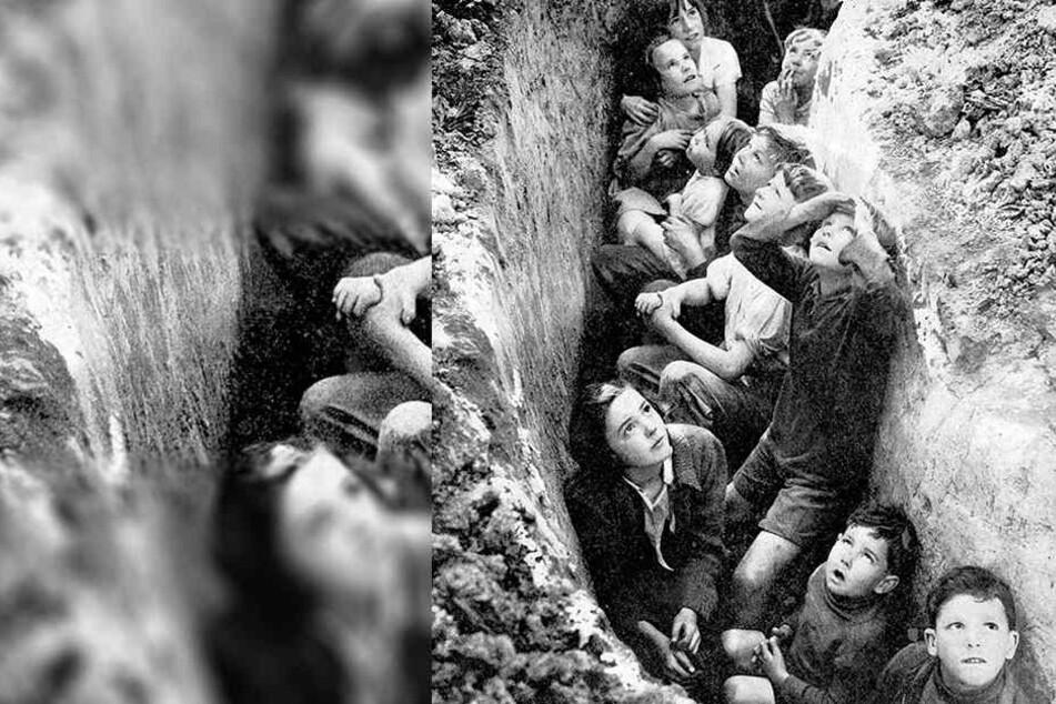 Kinder aus der Grafschaft Kent im Südosten Englands finden Schutz in einem Graben.