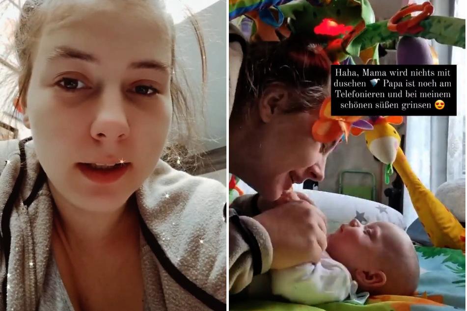 Duschen wird zum Luxus: Sarafina Wollnys (26) Zwillinge machen dem Körperpflege-Vorhaben ihrer Mutter einen Strich durch die Rechnung. (Fotomontage)