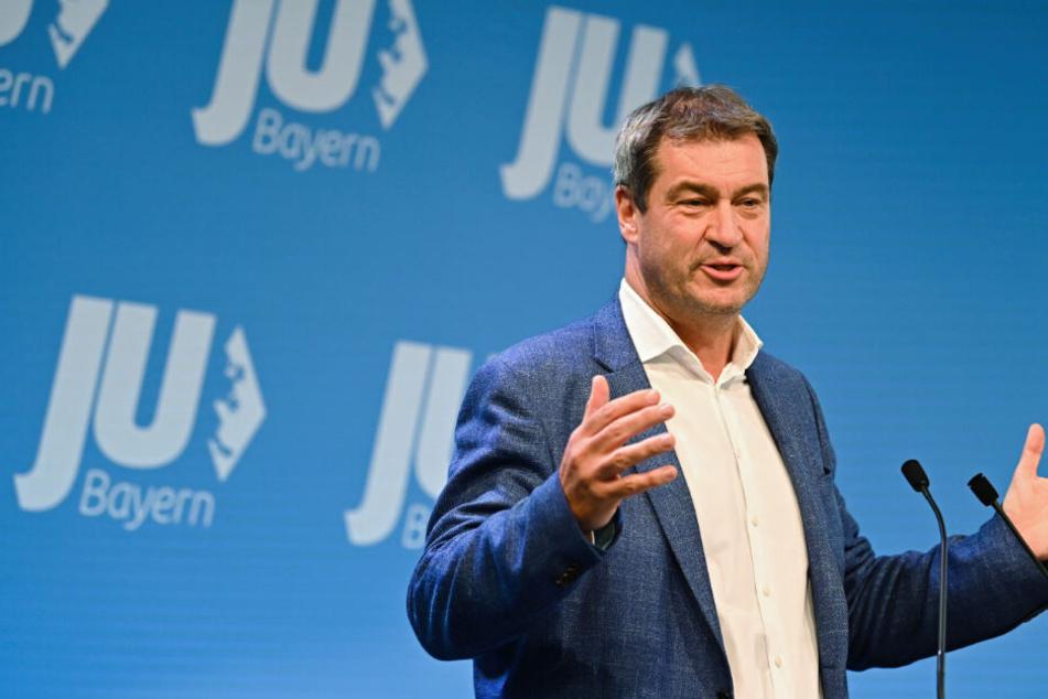 Markus Söder (CSU), Ministerpräsident von Bayern bei seiner Rede bei der Veranstaltung in Freystadt.