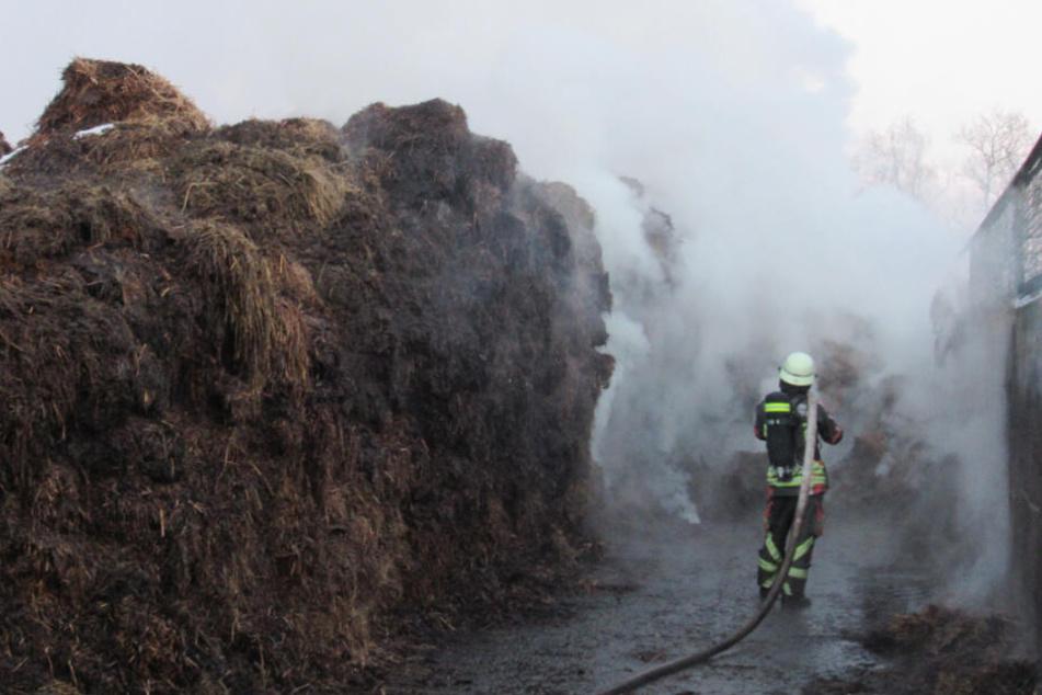 Ein Feuerwehrmann kämpft sich durch den verrauchten Einsatzort.