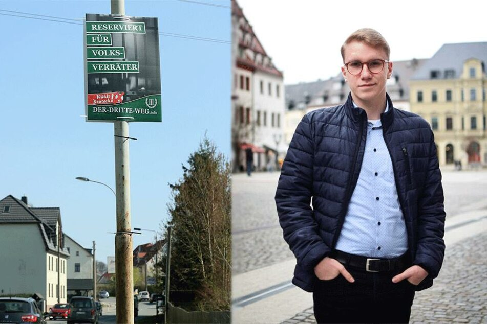 """""""Reserviert für Volksverräter"""": Rechtsradikaler Plakat-Ärger erreicht Landkreis Zwickau"""