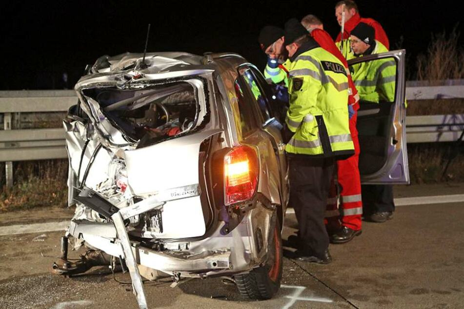 Auch bei diesem Unfall auf der A4 bei Nossen wurde ein Mann getötet (Archivbild).