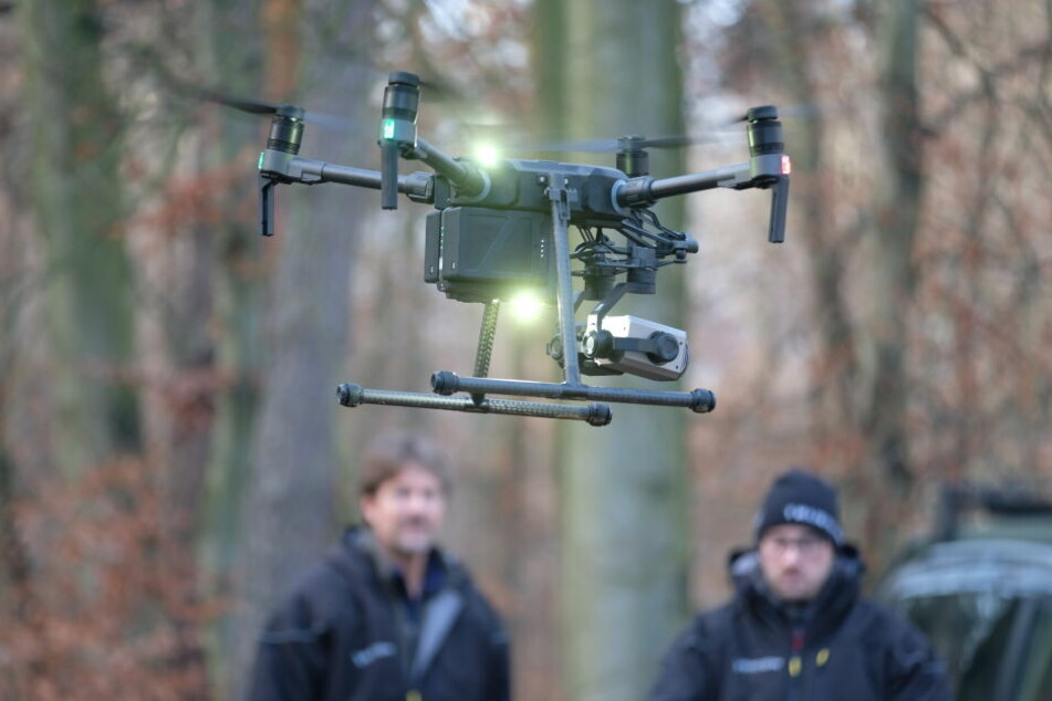 Am Dienstag war im Thümmlitzwald bei Grimma auch eine Drohne im Einsatz.