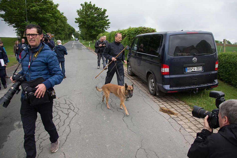 Leichenspürhund Sunny und Hundeführer Ulrich Hitzemann bei der Suche nach Spuren.