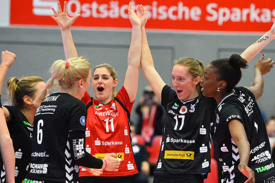 Jede Menge Grund zum Jubeln hatten die DSC-Ladies gegen Vilsbiburg.