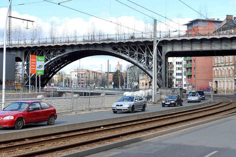 Die Fachwerkbrücke an der Annaberger Straße in Chemnitz.