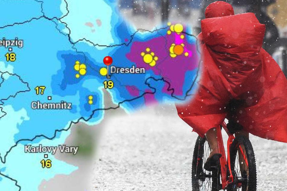 Ab dem Nachmittag rollen heftige Gewitter mit Starkregen und Hagel auf Sachsen zu.