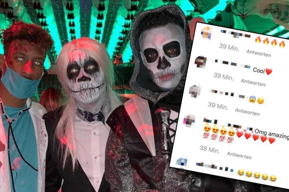 Die Follower feiern es: Coman Kingsley, David Alaba und Corentin Tolisso (v.l.) in Halloween-Laune.
