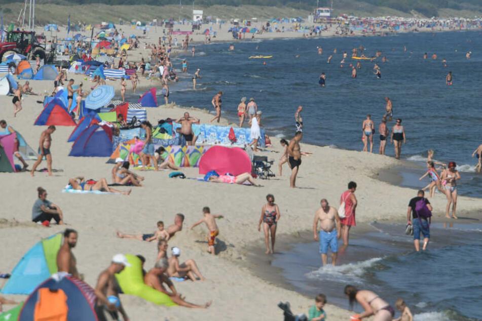 Bei sommerlichen Temperaturen herrscht am Ostseestrand Hochbetrieb.