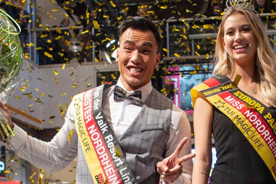 Hai Nguyen (li.) und Lara-Kristin Bayer freuen sich über ihre Siege bei den Mister- und Misterwahlen.