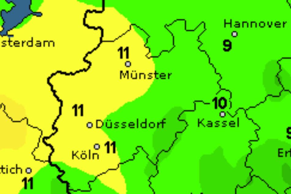 """Im Westen von NRW sind bis zu elf Grad drin, in OWL dagegen """"nur"""" neun Grad."""