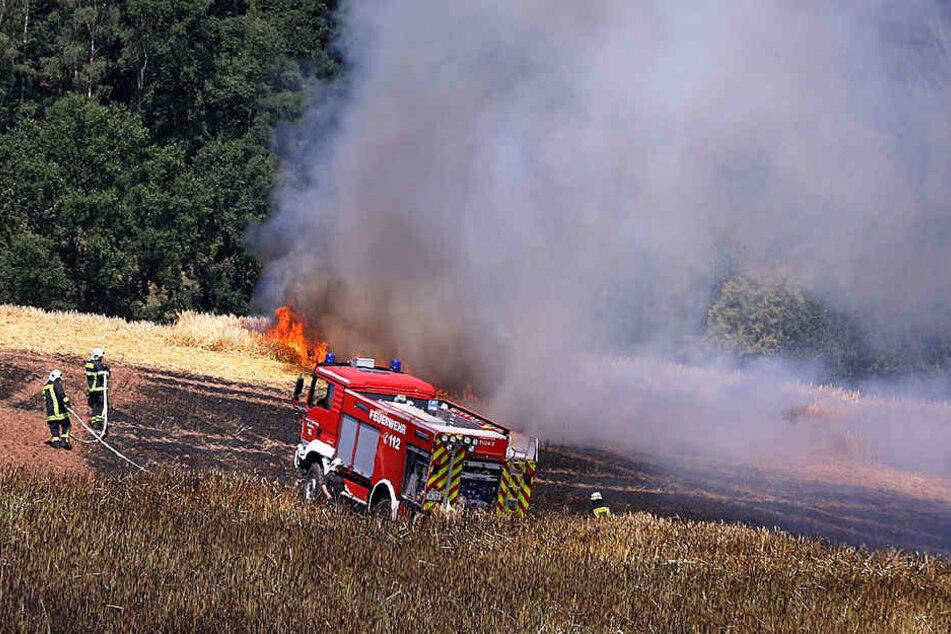 Die Feuerwehr versucht die Flammen zu löschen.