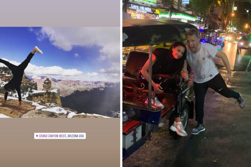 Amira Pocher (28) hat bereits am Grand Canyon Handstand gemacht und war mit Ehemann Oliver Pocher (43) in Tokio unterwegs. (Fotomontage)