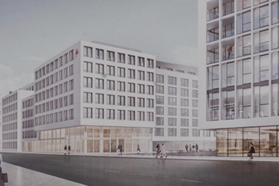 """So soll das """"Quartier der Generationen"""" auf dem Güntz-Areal künftig aussehen. Direkt am Hauptsitz befindet sich der Anbau der Ostsächsischen Sparkasse."""