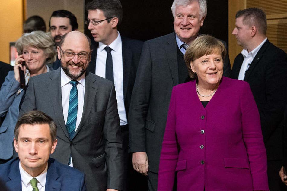 Martin Schulz (SPD), Horst Seehofer (CSU) und Angela Merkel (CDU).