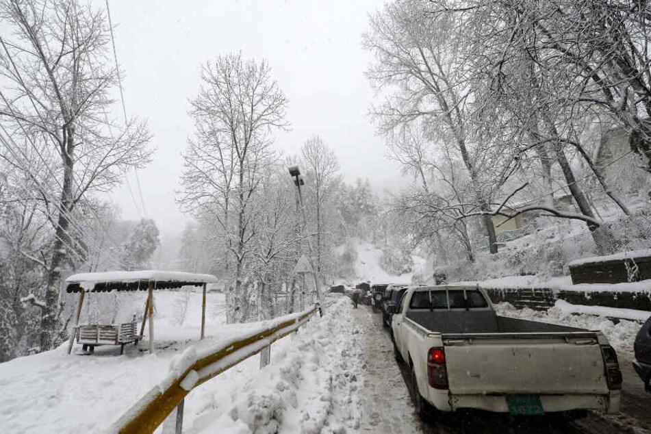 Fahrzeuge stecken während starker Schneefälle in Murree, etwa 60 Kilometer nördlich von Islamabad, auf einer Straße fest.