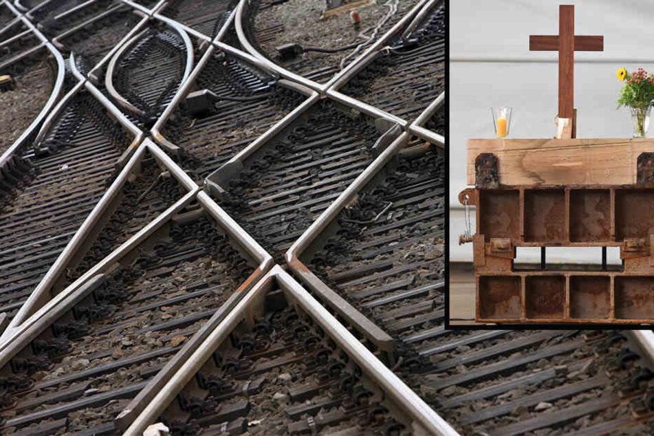 Freunde des am Mittwochabend tödlich verunglückten 19-Jährigen haben auf einem Grundstück an den Bahngleisen in Borsdorf einen Altar aufgebaut und ein Gebäude beschmiert.