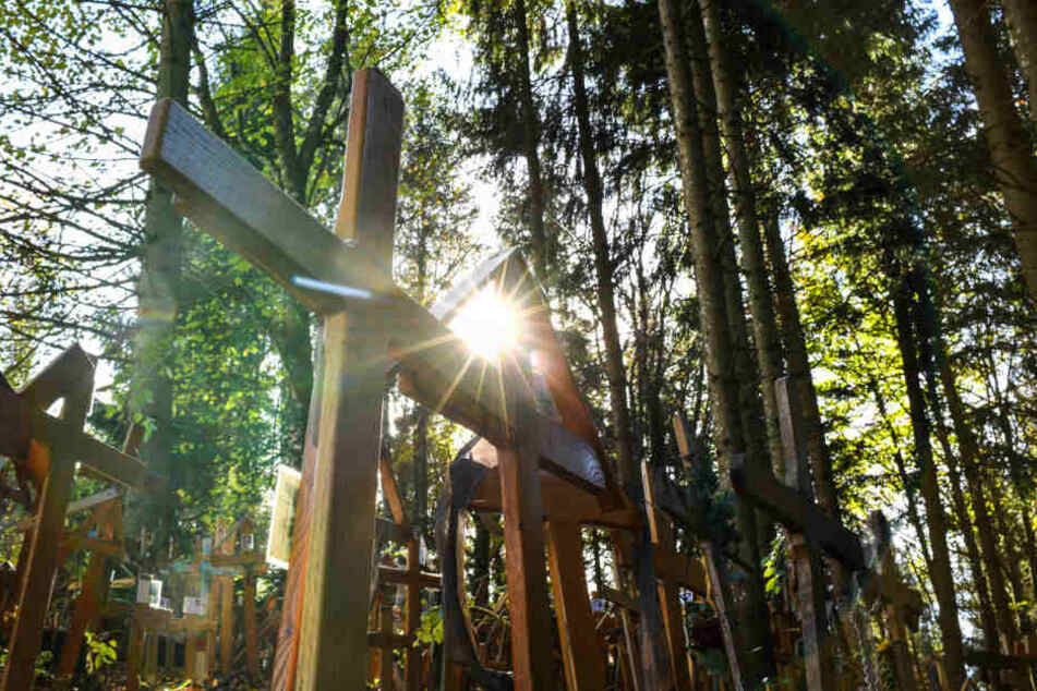 Seit rund 30 Jahren werden die Grabkreuze im Wald von Gschnaidt abgestellt.