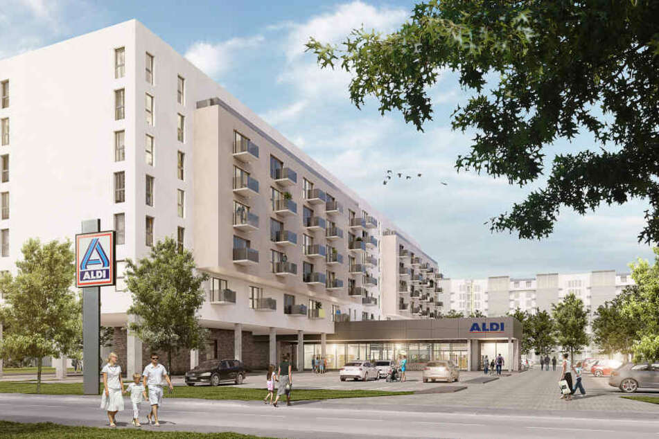 So soll das Wohnungsbauprojekt von ALDI Nord mal aussehen.