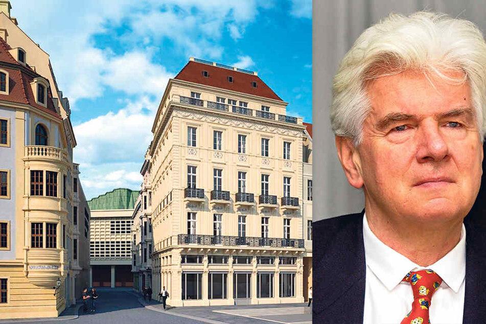 "So möchte Nobelpreisträger Günter Blobel (80) das ""Au Petit Bazar"" am Neumarkt errichten."