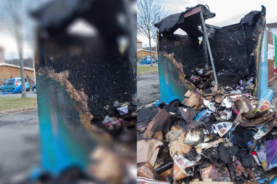 Immer wieder brennen in Plauen Container. Hier hatte der Täter in der Reißiger Straße gezündelt.