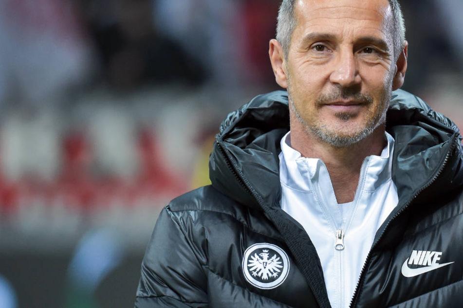 Beim Spiel gegen Olympique Marseille konnte Eintracht-Trainer Hütter mit seiner Mannschaft zufrieden sein.