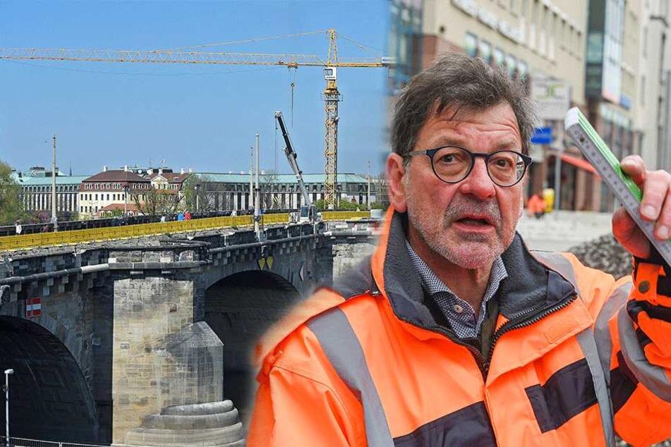 Endspurt an der Augustusbrücke: In den Sommerferien wird das Terrassenufer höhergelegt