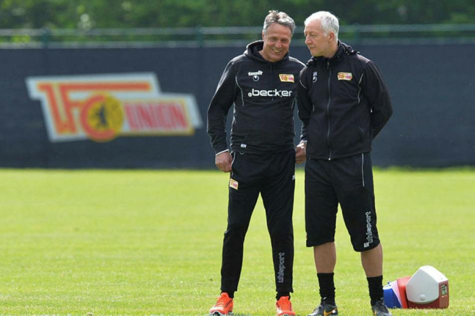 Das Angebot, neben André Hofschneider (r.) am Samstag wieder auf der Union-Bank Platz zu nehmen, hat Uwe Neuhaus bereits ausgeschlagen.