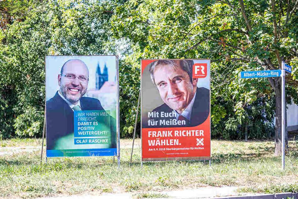 Die Kontrahenten Richter (r.) und Raschke auf ihren Wahlplakaten.