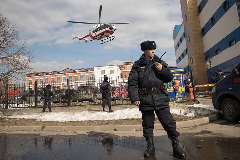"""Nach ersten Ermittlungen soll das Feuer im Lager einer Spielzeugabteilung des Kaufhauses """"Persej dlja detej"""" ausgebrochen sein. Die Polizei ermittelt."""