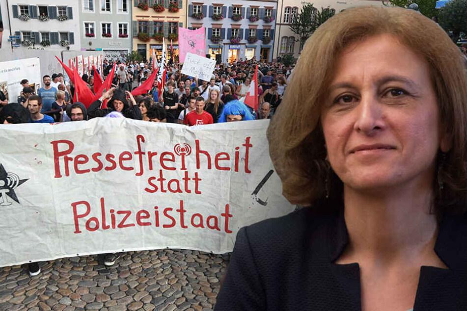 Nach Verbot: Grünen-Politikerin demonstriert für linksextreme Internetseite