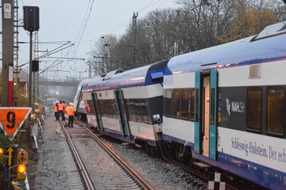 Nahe Elmshorn entgleiste der Zug plötzlich. Warum, ist noch unklar.