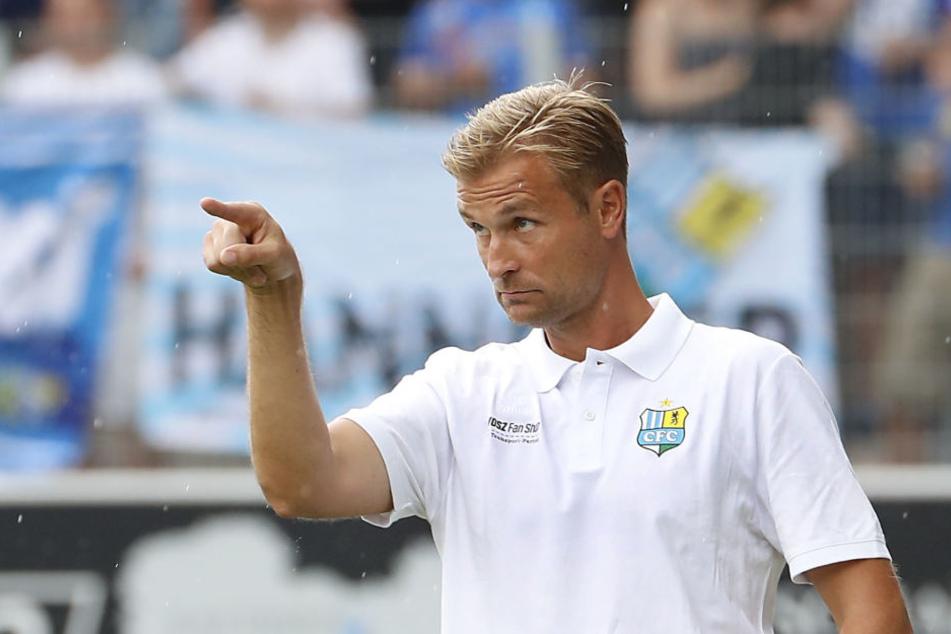 CFC-Trainer David Bergner beim letzten Spiel gegen FSV Union Fuerstenwalde.