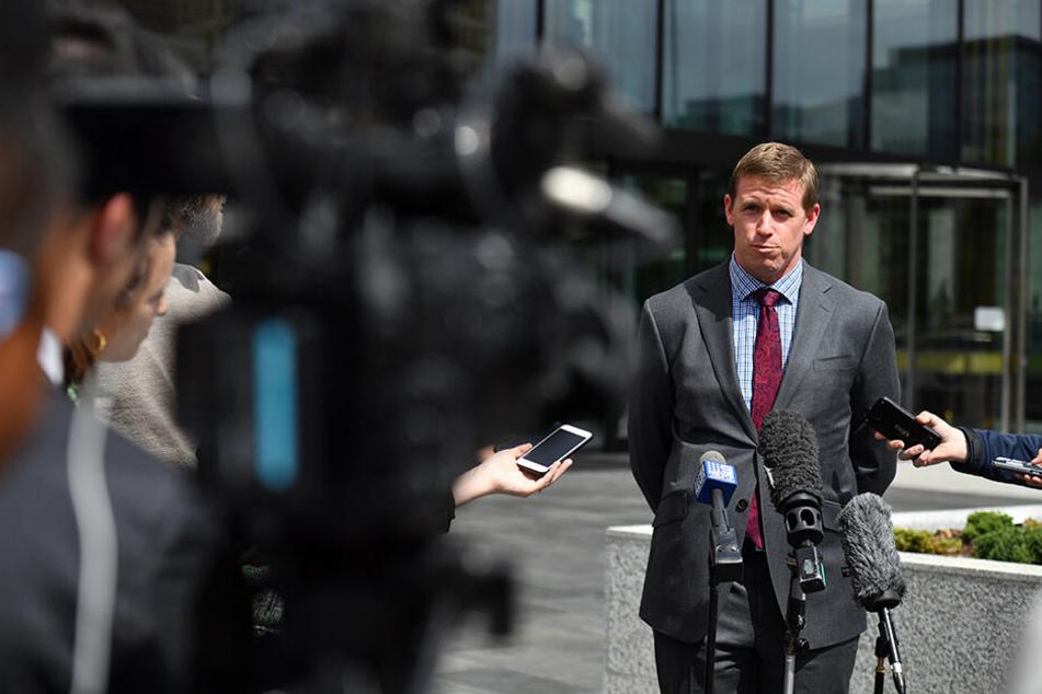 Sam Tierney, der Anwalt von David Eastmans, nach der Freilassung seines Mandanten.