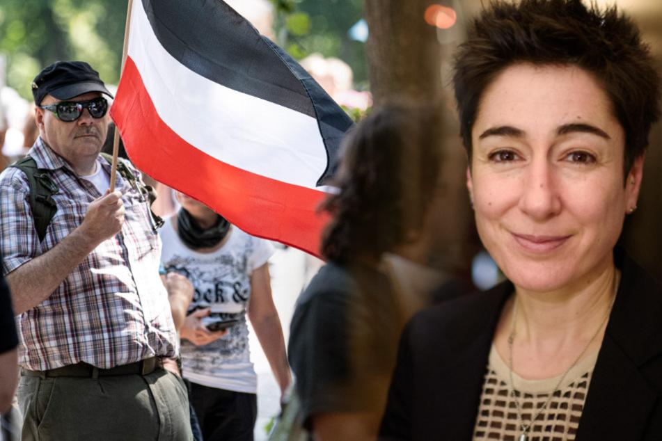Dunja Hayali musste den Dreh bei der großen Demonstration in Berlin abbrechen. (Bildmontage)